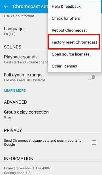 reset Chromecast option